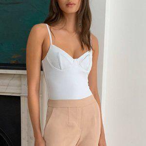 Aritzia Babaton White Corset Bodysuit